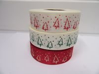 Cream & Green 2 or 20 metres 25mm Christmas with Tree Grosgrain Ribbon Xmas Roll Craft